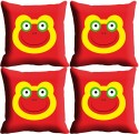 StyleNcomfort Smiley Digitally Printed Cushions Cover - Pack Of 4