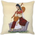 StyBuzz Traditional Indian Woman Cushion Cover Cushions Cover - Pack Of 1