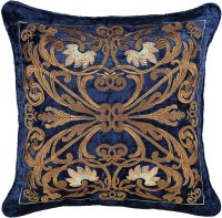 House Of Lotus Embroidered Cushions Cover (45 Cm*45 Cm, Blue)