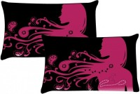 MeSleep Shades Of Girl Self Design Pillows Cover (Pack Of 2, 46*69)