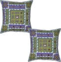 Lal Haveli Patchwork Mirror Work Embroidered Cushions Cover - Pack Of 2