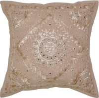 Lal Haveli Attractive Home Decor Embroidery Mirror Work Embroidered Cushions Cover (41 Cm*41 Cm, Beige)
