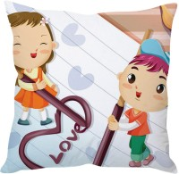 StyBuzz Happy Love Couple Cartoon Printed Cushions Cover (Cushion Pillow Cover, 40 Cm*40 Cm)
