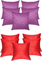 Zikrak Exim Agley & Box Quilting Red, Purple Combo Self Design Cushions Cover (Pack Of 10, 30 Cm*30 Cm, Purple, Red)