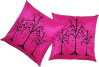 Zikrak Exim Embroidered Cushions Cover (Pack Of 2, 40 Cm*40 Cm, Pink)