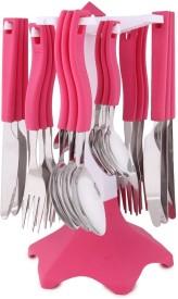 Jen Pink Plastic, Steel Cutlery Set