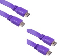 Storite 2 Pack Super Flat Hdmi Male To Male Tv Lead 1.4v High Speed Ethernet 3d Full Hd 1080p (150cm - 4.5foot - 1.5m) Cable (Purple)
