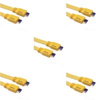 Storite 5 Pack Super Flat Hdmi Male To Male Tv Lead 1.4v High Speed Ethernet 3d Full Hd 1080p (150cm - 4.5foot - 1.5m) Cable (Yellow)