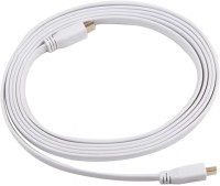 Indiashopers Flat 1.5m HDMI 1.4 Version HDMI Cable (White)