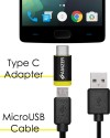 AMZER Micro USB To USB Data Sync And Charge Cable 1ft With Type-C Adapter USB Cable (Black)