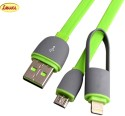 LEUCI 2 IN 1 DATA CABLE FOR IPHONE 5/5S/6/6S & WITH MICRO USB CHARGING PORT USB Cable (Green)