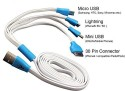 Silco 4 In 1 Data Cable For Iphone 4/ 5, HTC, Samsung USB Cable (White, Blue)
