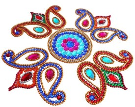 Susajjit Multi Colour Decorative Kundan Rangoli - 1