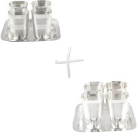 GS Museum Square Glow Finish 4 Glass & Square Met Finish 4 Glass Set Dinner Set (Silver Plated)