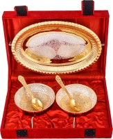 Jaipur Trade Silver & Gold Plated 2 Heavy Flower Bowl With Spoon With Tray Pack Of 5 Dinner Set (Silver Plated)