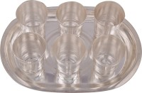Jaipur Trade Silver Plated 6 Mayuri Glass With Tray Pack Of 7 Dinner Set (Silver Plated)
