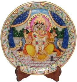 Apkamart Lord Ganesh Marble Painting plate with stand Stoneware Decorative Platter