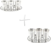 GS Museum Square Glow Finish 3 Glass & Square Met Finish 3 Glass Set Dinner Set (Silver Plated)