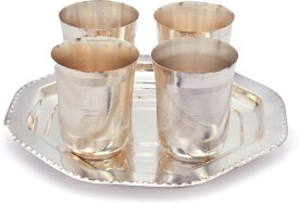 Shree Sai Handicraft 4 Brass Glass with Tray Set Brass Decorative Platter