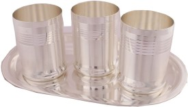 Shreeng Silver Plated Premium Glass Set With oval Tray 4 Pcs. Stainless Steel Decorative Platter