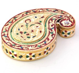 Little India Golden Meenakari Work Paisley Design Dryfruit Box 418 Wooden Decorative Platter