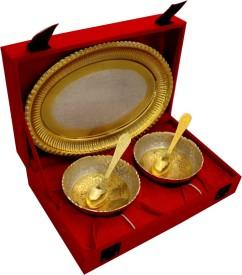 Shreeng 2 Tone Round Shape 2 Bowl & Trey With 2 Spoons Brass Decorative Platter