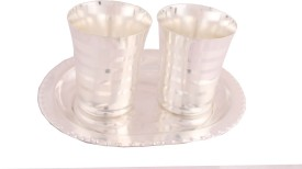 Shreeng Silver Plated Premium Patta Glass Set With oval Tray 3 Pcs. Stainless Steel Decorative Platter