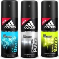 Adidas Dynamic Pulse Ice Dive And Pure Game Deodorant Spray  -  For Boys, Men (450 Ml)