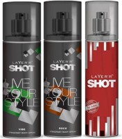 Layer'R Shot Vive, Rock, Red Stailian Fragrance Body Spray Deodorant Spray  -  For Men (135 Ml)