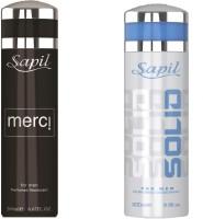 Sapil Solid & Merci Combo Set Of 2pcs Body Spray  -  For Men (200 Ml)