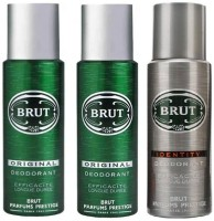 Brut Deo Combo 2 Original & 1 Identity Body Spray  -  For Men (200 Ml)