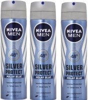Nivea Men 48h Silver Protect Polar BLue Anti-Perspirant ( Pack Of 3 ) Deodorant Spray  -  For Men (150 Ml)