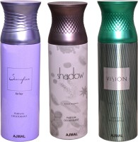 AJMAL 1 SHADOW FOR HIM::1 VISION::1 SACRIFICE FOR HER Deodorant Spray  -  For Women (600 Ml)