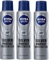 Nivea Men 48h Silver Protect Dynamic Power Anti-Perspirant ( Pack Of 3 ) Deodorant Spray  -  For Men (150 Ml)
