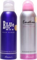 Rasasi Blue For Men And Emotion Femme Deodorant Spray  -  For Boys, Girls (400 Ml)