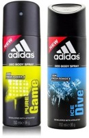 Adidas Pure Game And Ice Dive Deodorant Spray  -  For Men (300 Ml)