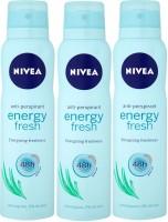 Nivea Anti-Perspirant Energy Freshness 48h ( Pack Of 3 ) Deodorant Spray  -  For Men, Women, Girls, Boys (150 Ml)