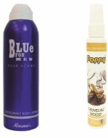 Rasasi Rasasi Blue Deo + Poppy Spray Freshener Sandalwood Free Deodorant Spray  -  For Boys, Girls, Men, Women (200 Ml)