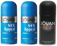 Jovan Sex Appeal Satisfaction Combo Set Body Spray  -  For Boys, Men (450 Ml)