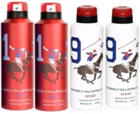 Beverly Hills Polo Club 1 And 9 Combo Set Of 4 Body Spray  -  For Boys, Men (700 Ml)