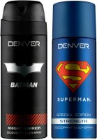 Denver Batman Knight Warrior And Superman Strength Deo (Pack Of 2) Deodorant Spray  -  For Men (150 Ml)
