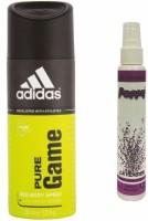 Adidas Adidas Pure Game Deo + Poppy Spray Freshener Lavender Free Deodorant Spray  -  For Boys, Girls, Men, Women (150 Ml)