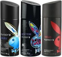 Playboy Malibu Newyork Vegas Body Spray  -  For Men (450 Ml)