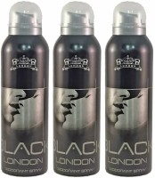 Aafal London 3 Black Deodorant Spray  -  For Men (600 Ml)