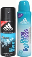 Adidas Ice Dive And Pure Lightness Body Spray  -  For Boys, Men, Girls, Women (300 Ml)
