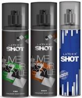 Layer'R Shot Vive, Rock,Deep Desire Fragrance Body Spray Deodorant Spray  -  For Men (135 Ml)