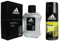 Adidas The Dynamic Pulse EDT & Pure Game Deo Combo Body Spray  -  For Boys, Men (250 Ml)