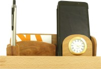 Radius In With Clock 3 Compartments Wooden Pen Stand (Brown)