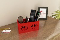 Home Sparkle 2 Compartments Engineered Wood Remote Cum Mobile Holder::Organizer (Red)