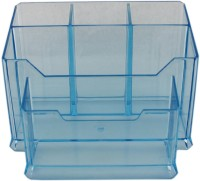 Tootpado 5 Compartments Acrylic Pencil Card Holder Pen Stand (Blue)